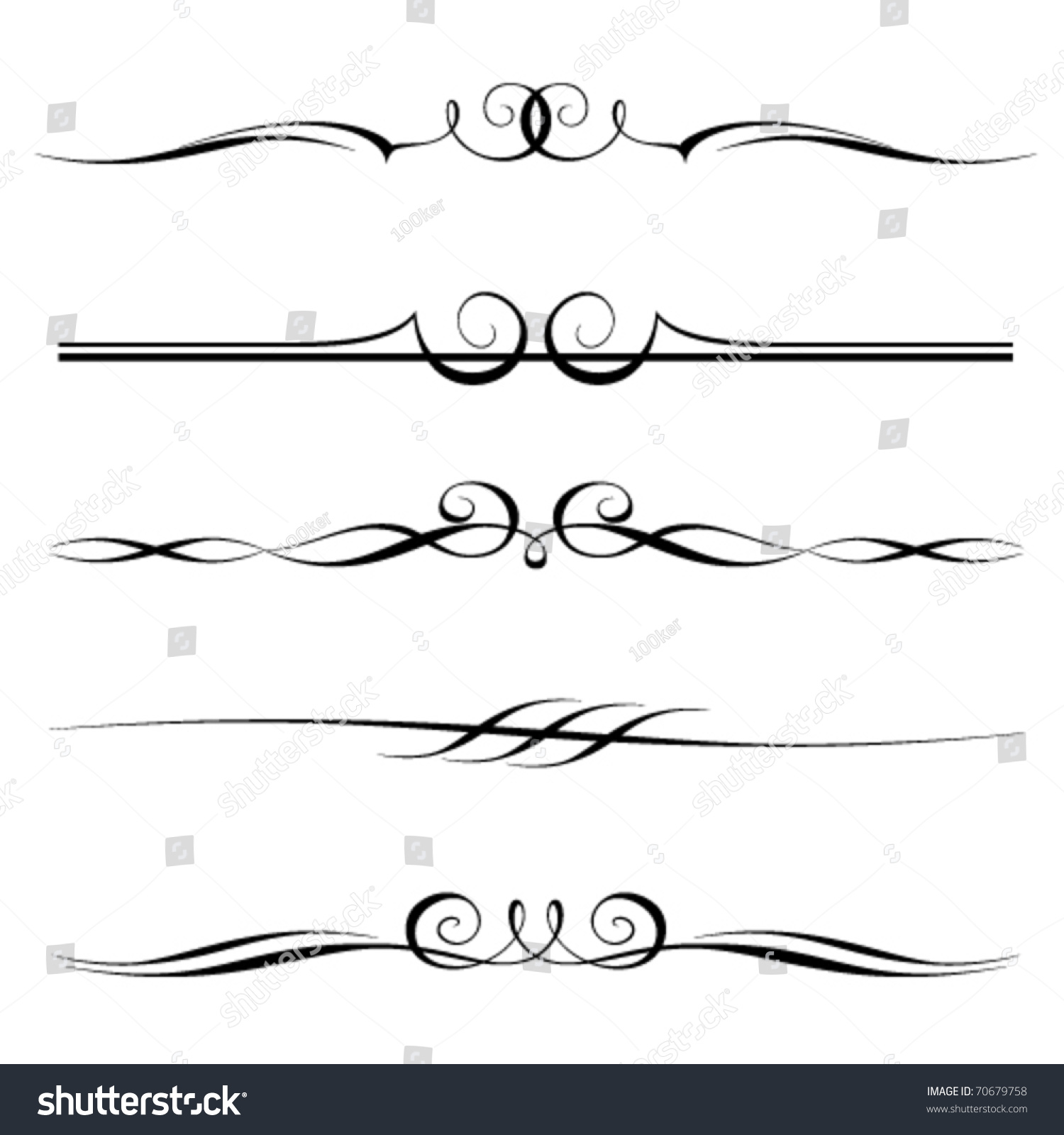 Basic Line Designs : Vector set decorative elements border page stock