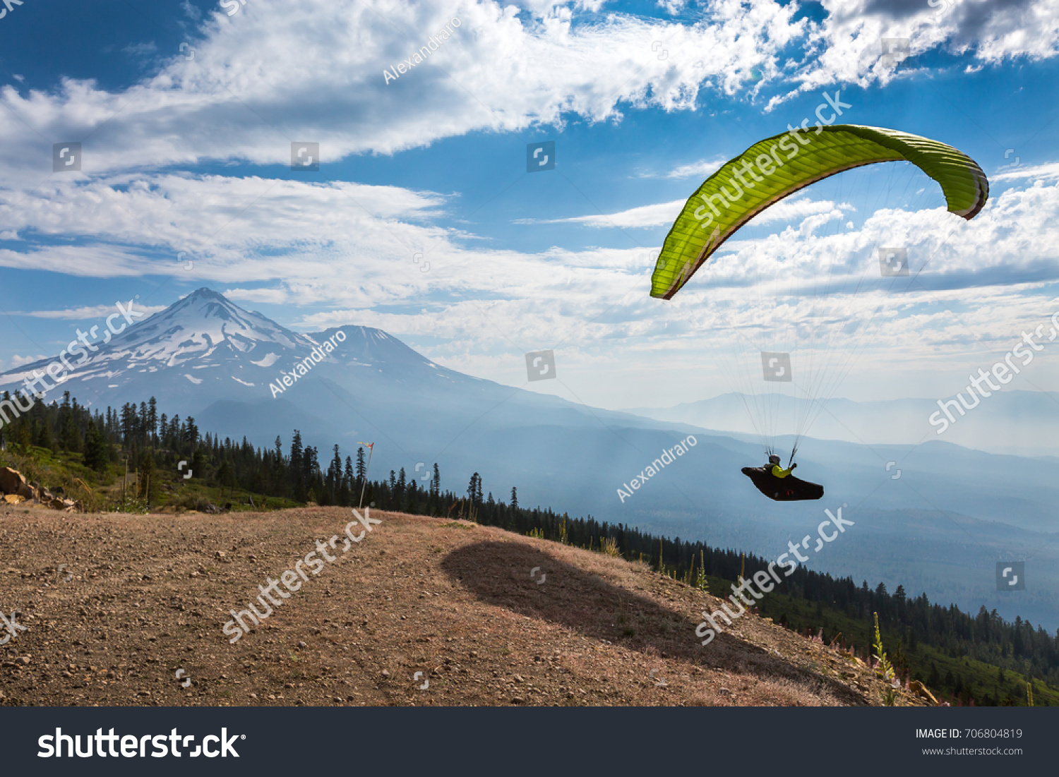 Paraglider Takes Off Whaleback Launch Near Stock Photo (Edit