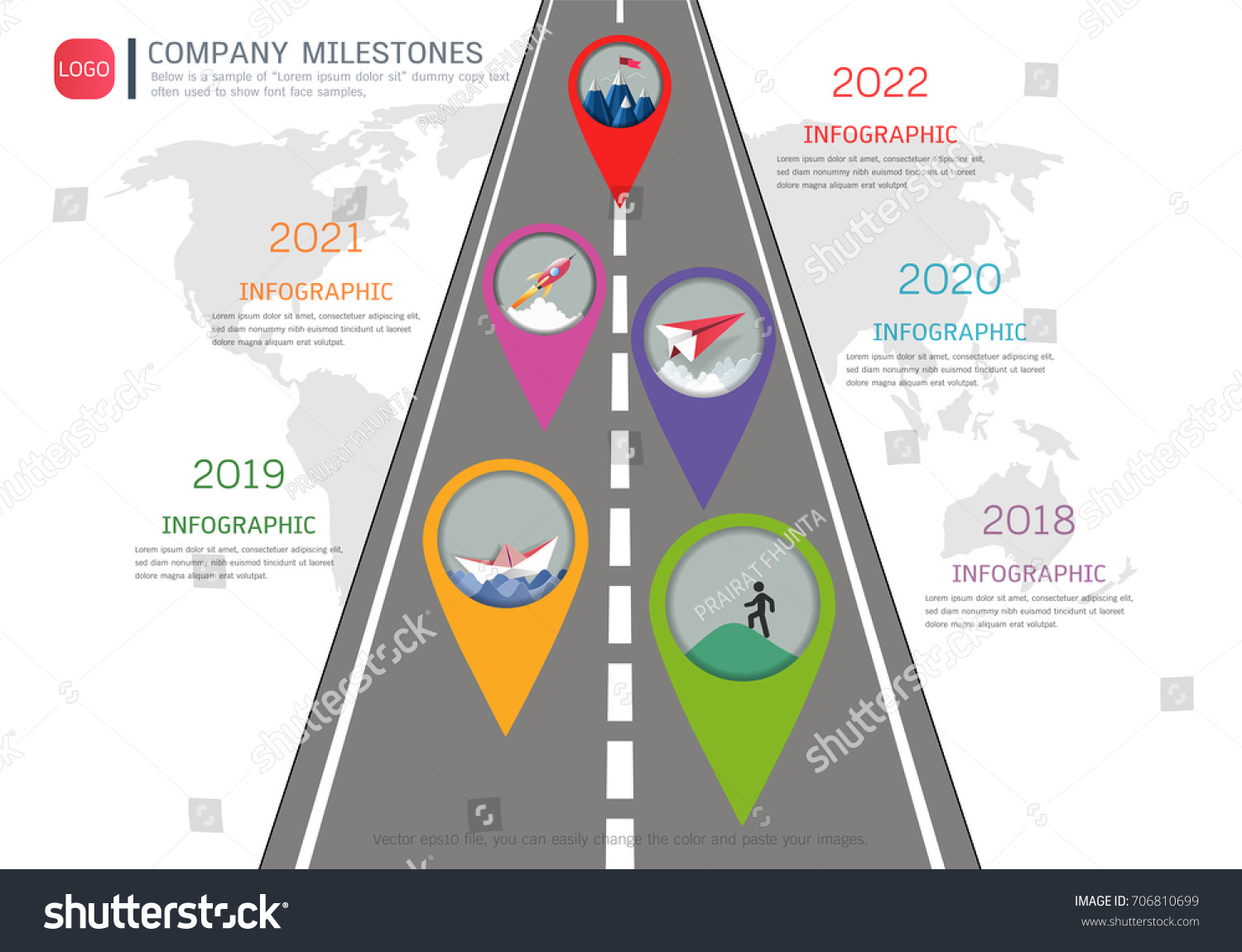 Milestone Timeline Infographic Design Road Map Stock Vector Royalty