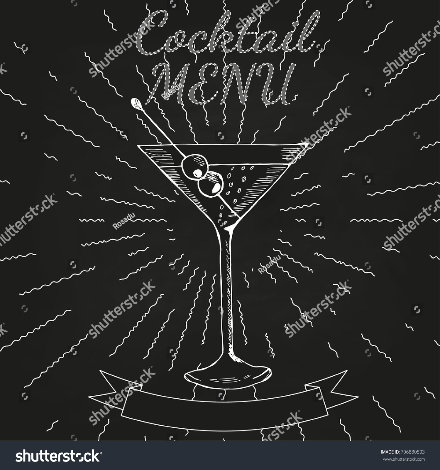 cocktails menu card vintage design template stock illustration