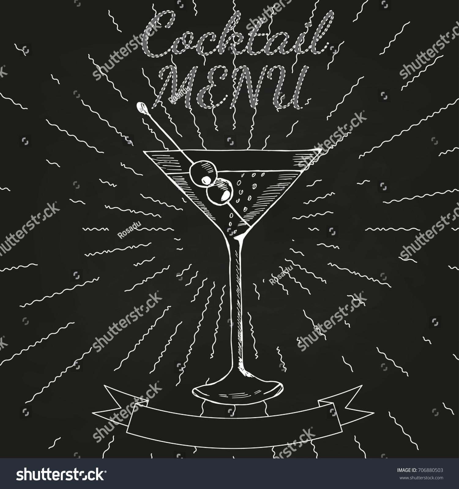 cocktails menu card vintage design template stock illustration