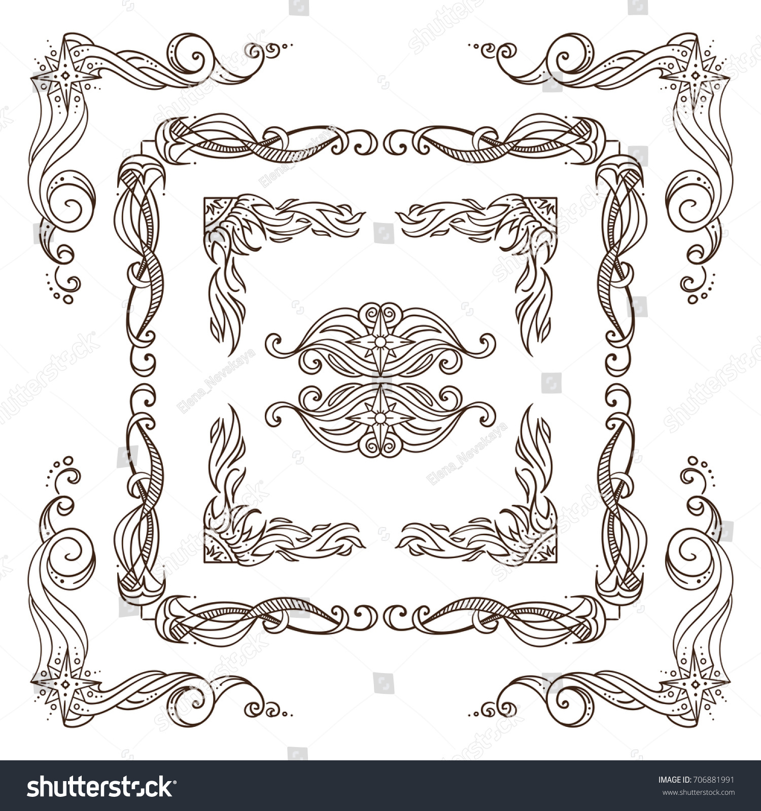 Set Square Frames Corners Dividers Ornate Stock Vector (Royalty Free ...
