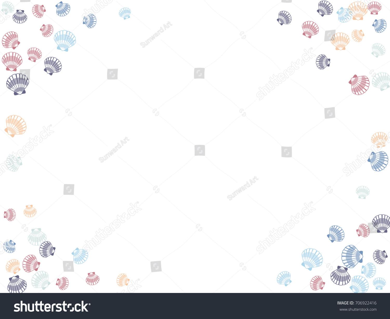 seashell border vector illustration mollusk conch stock vector