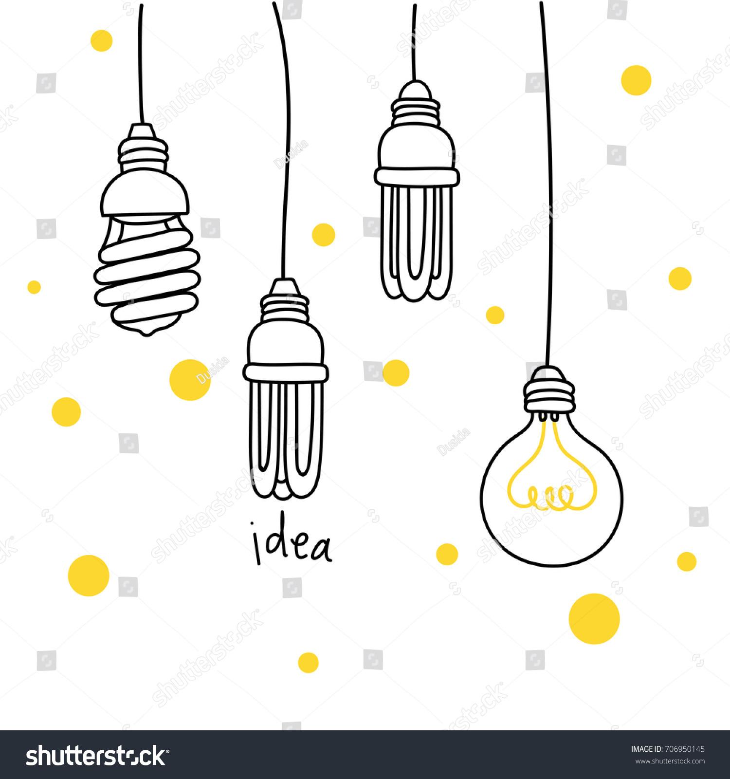 idea cute light bulb drawing vector stock vector royalty free