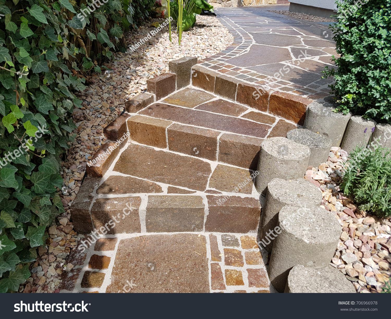 Garden Path Natural Stone Porphyry Stock Photo (Edit Now) 706966978 ...