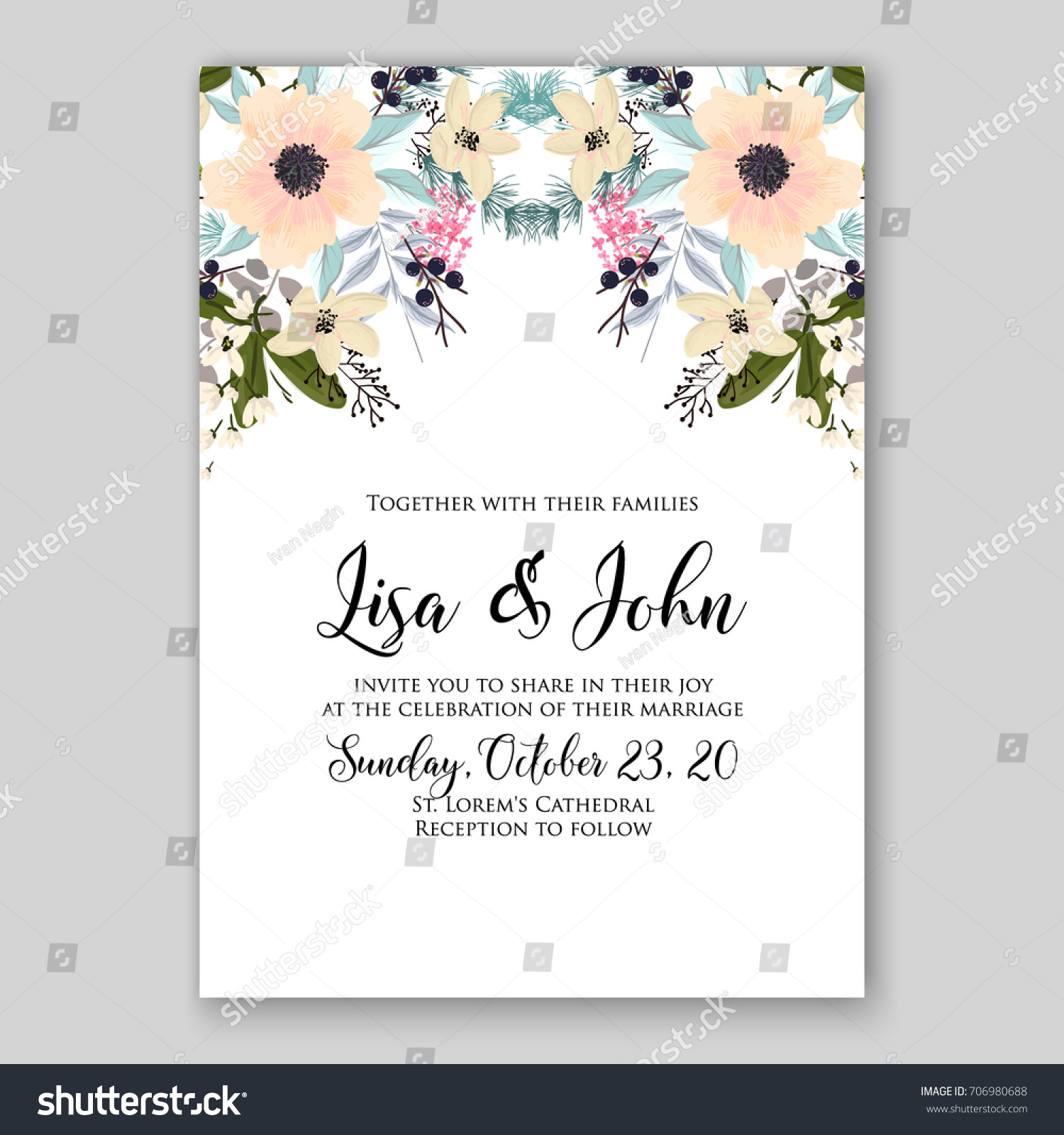 Wedding Invitation Autumn Floral Card Template Stock Vector ...