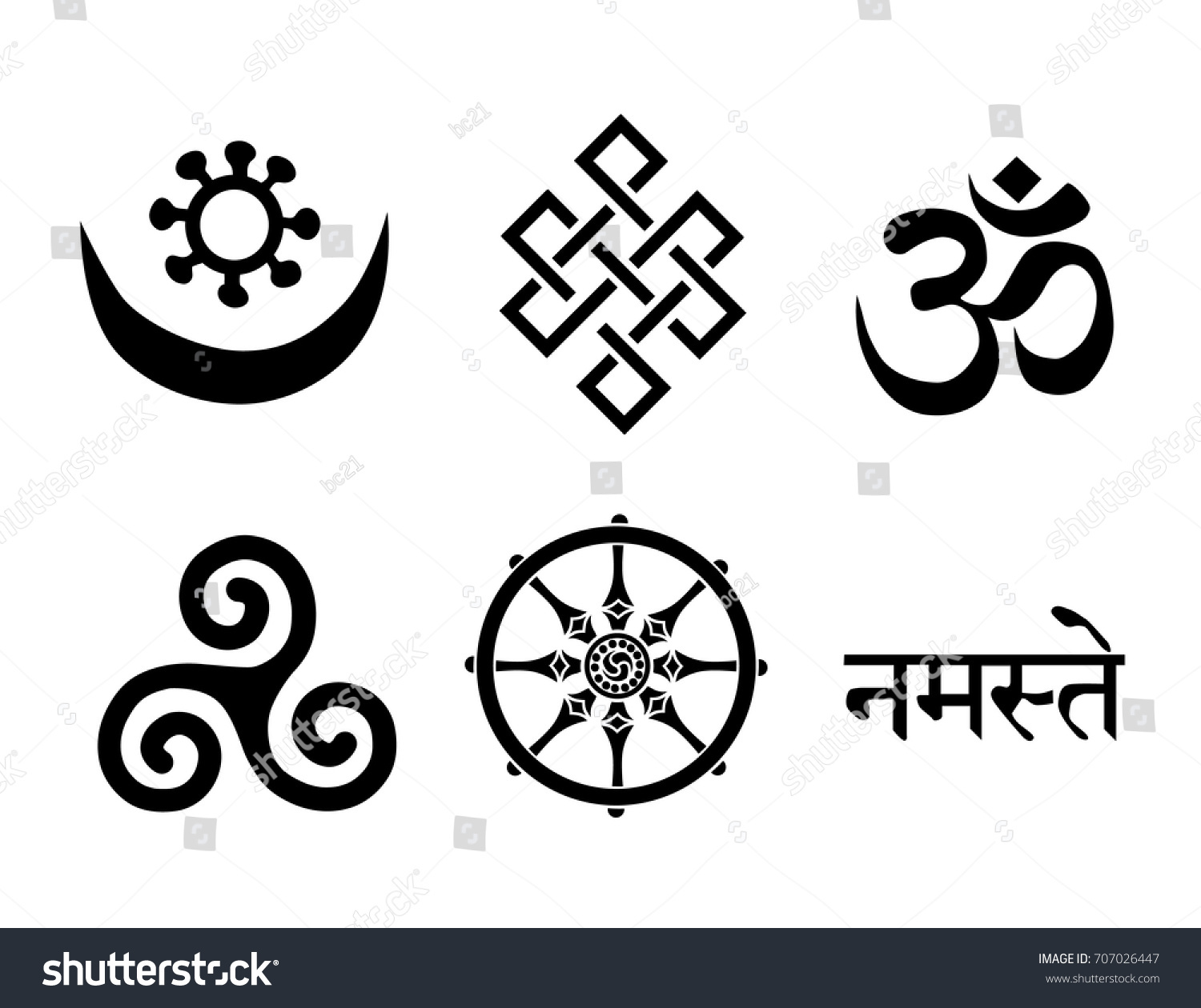Buddhist symbols you can use this stock vector 707026447 buddhist symbols you can use this signs to create logo design wall art biocorpaavc