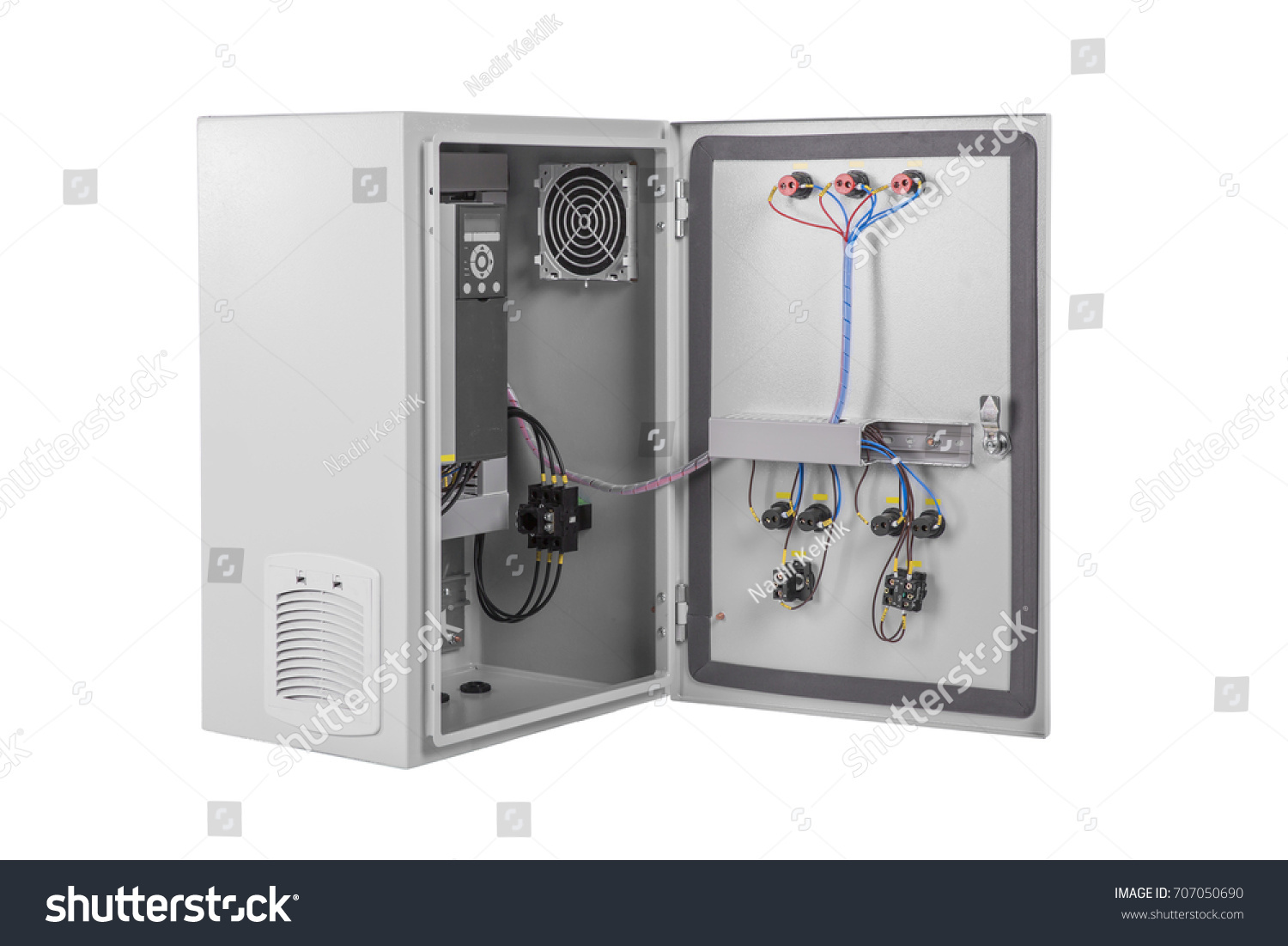Brand New Electrical Box Contains Many Stock Photo Edit Now Relay Terminal Wiring The Terminals Relays Wires And Switches Isolated On