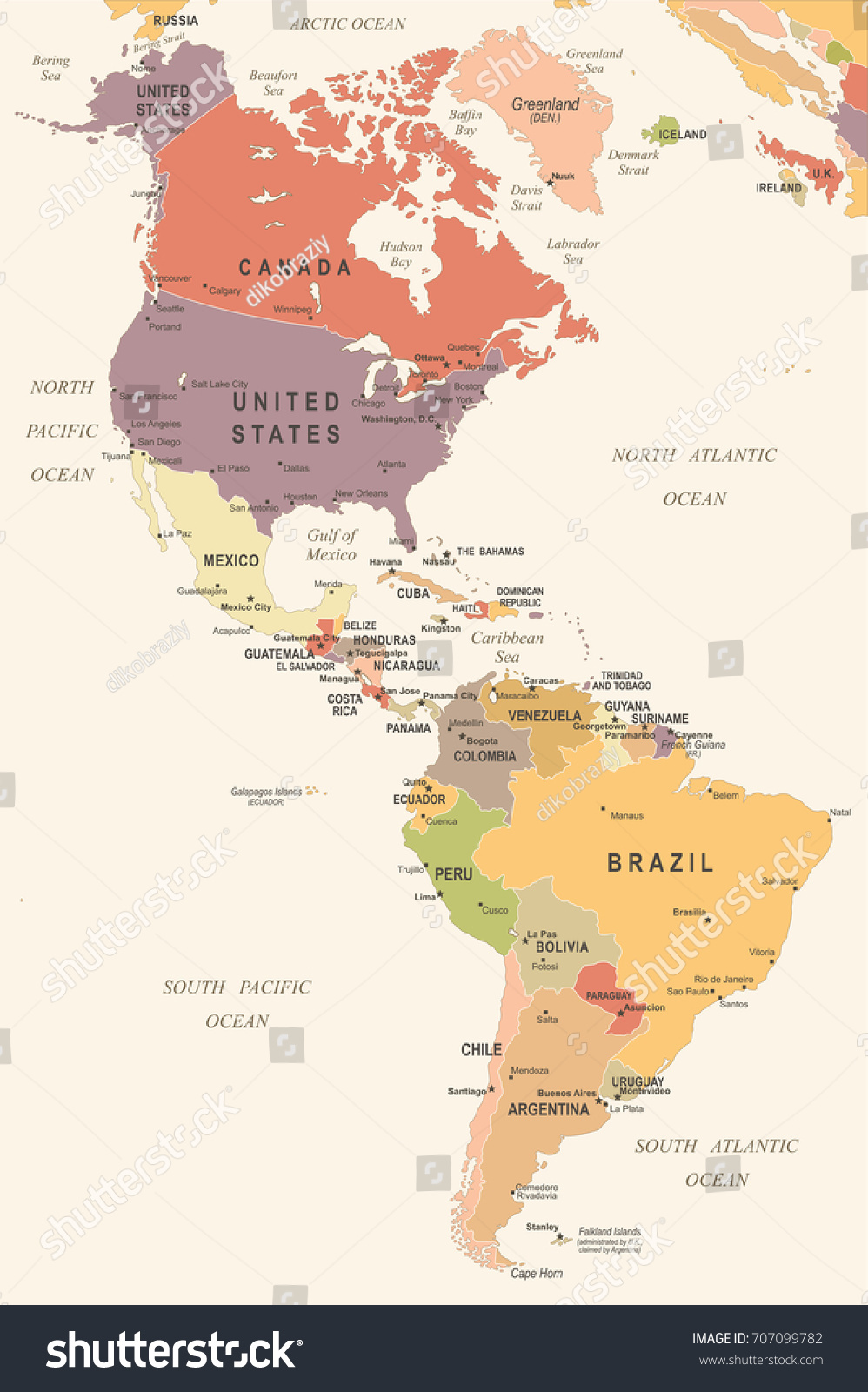 North South America Map Vintage Detailed Stock Vector Royalty Free