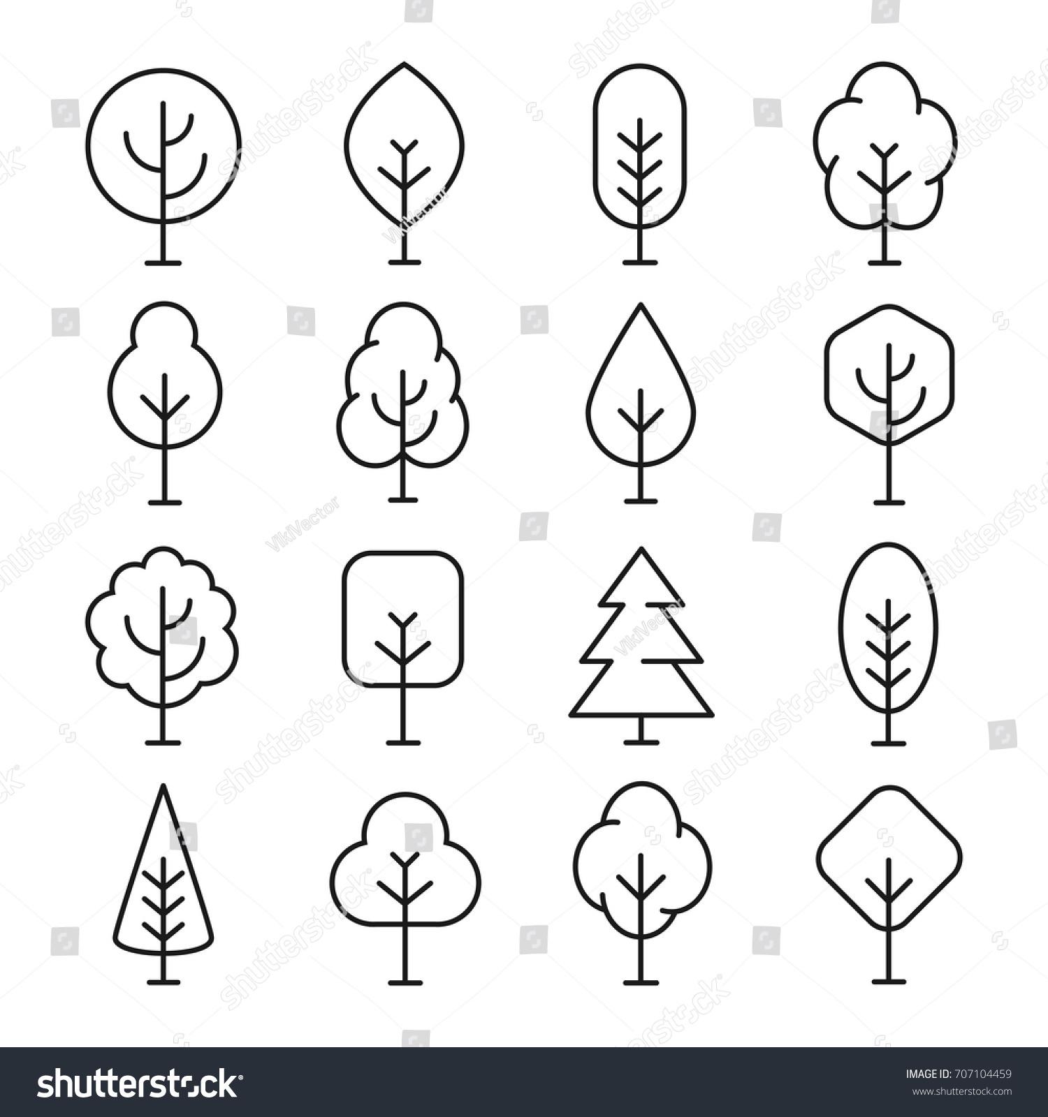 tree line icon naturally beautiful symbol stock vector 707104459