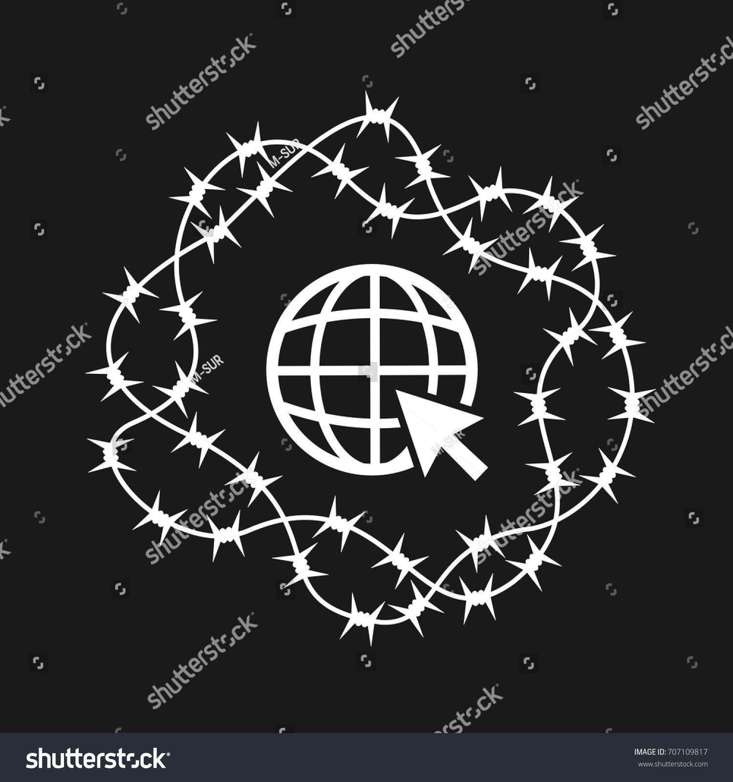 Cursor Earth Surrounded By Barber Wire Stock Photo (Photo, Vector ...