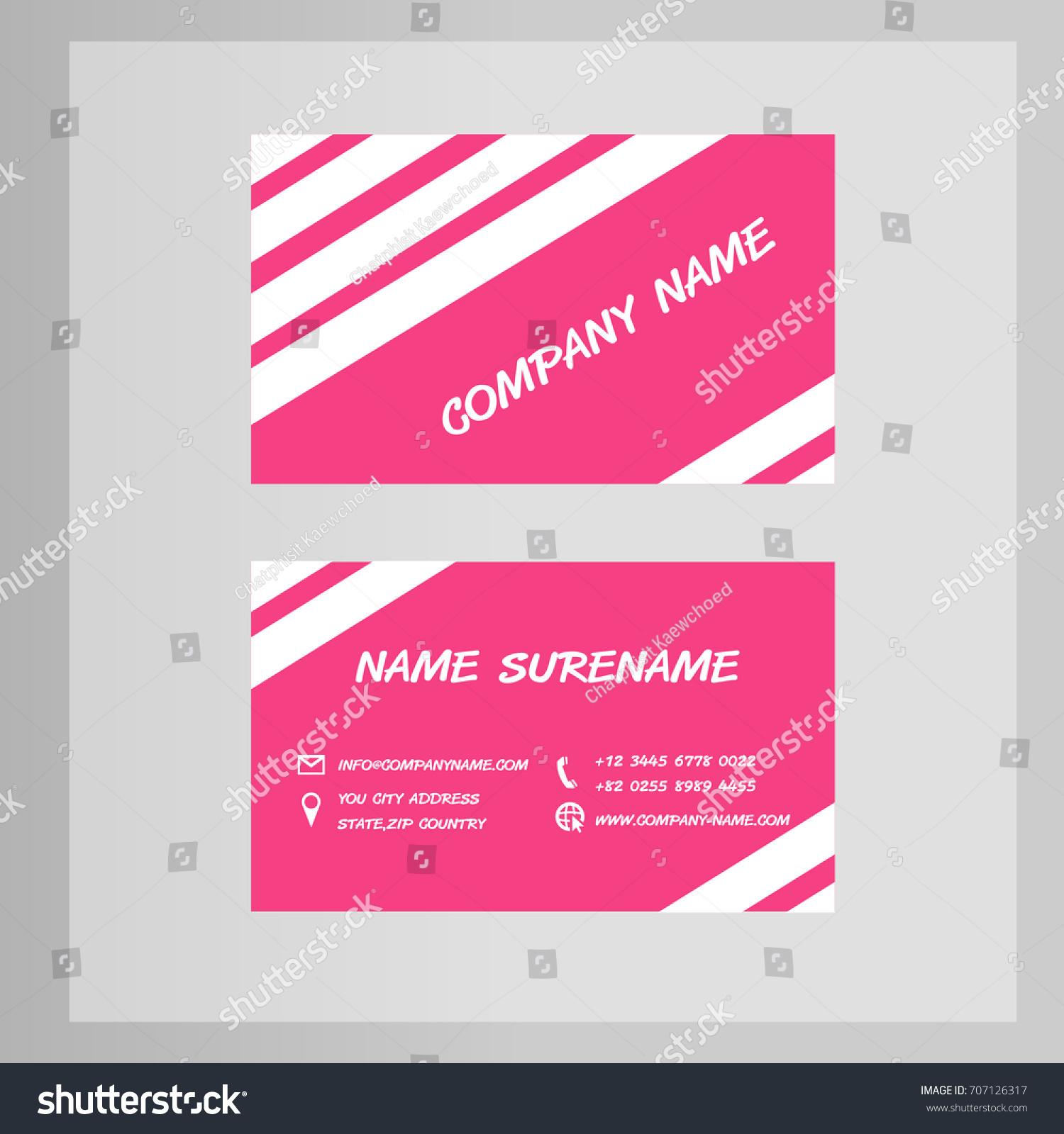 Business Card Design Black Pink Tone Stock Vector 707126317 ...