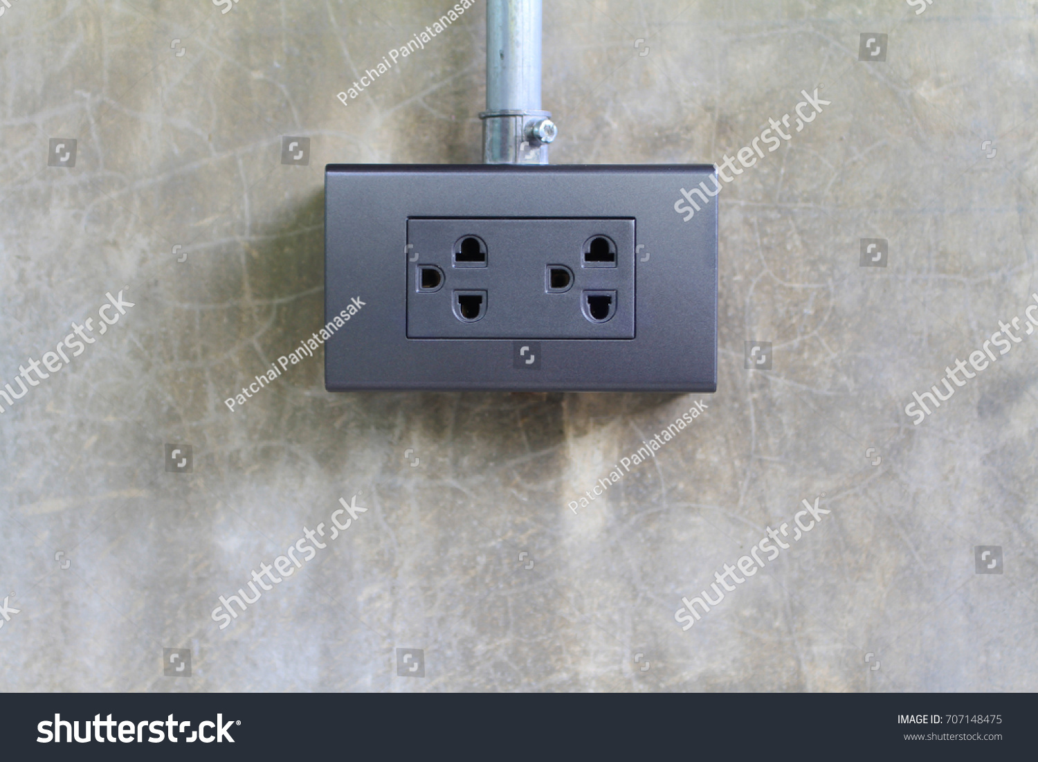Thailand Electric Socket Outlets On Concrete Stock Photo (Edit Now ...
