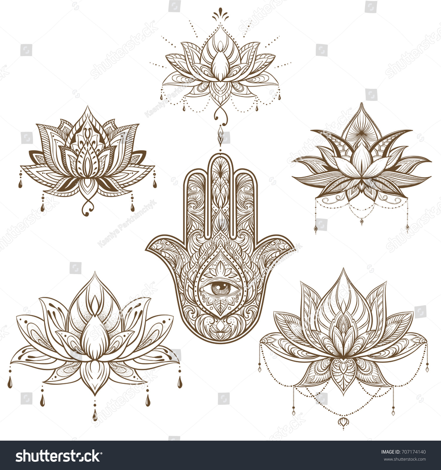lotus flower hamsa set vector boho stock vector 707174140