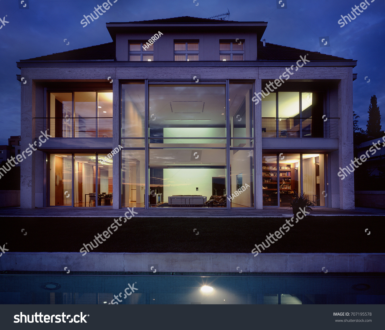 home swimming pools at night. Large Family House Swimming Pool Night Stock Photo (Royalty Free) 707195578 - Shutterstock Home Pools At