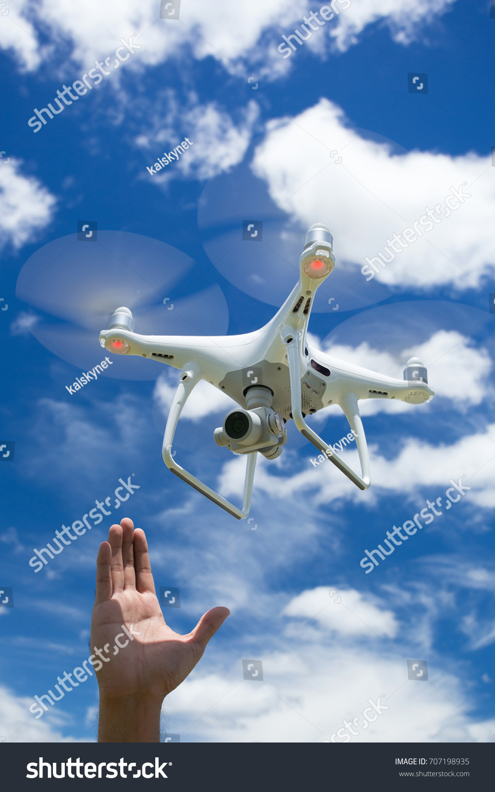 Drone Photographer Man Hands Drone Professional Stock Photo