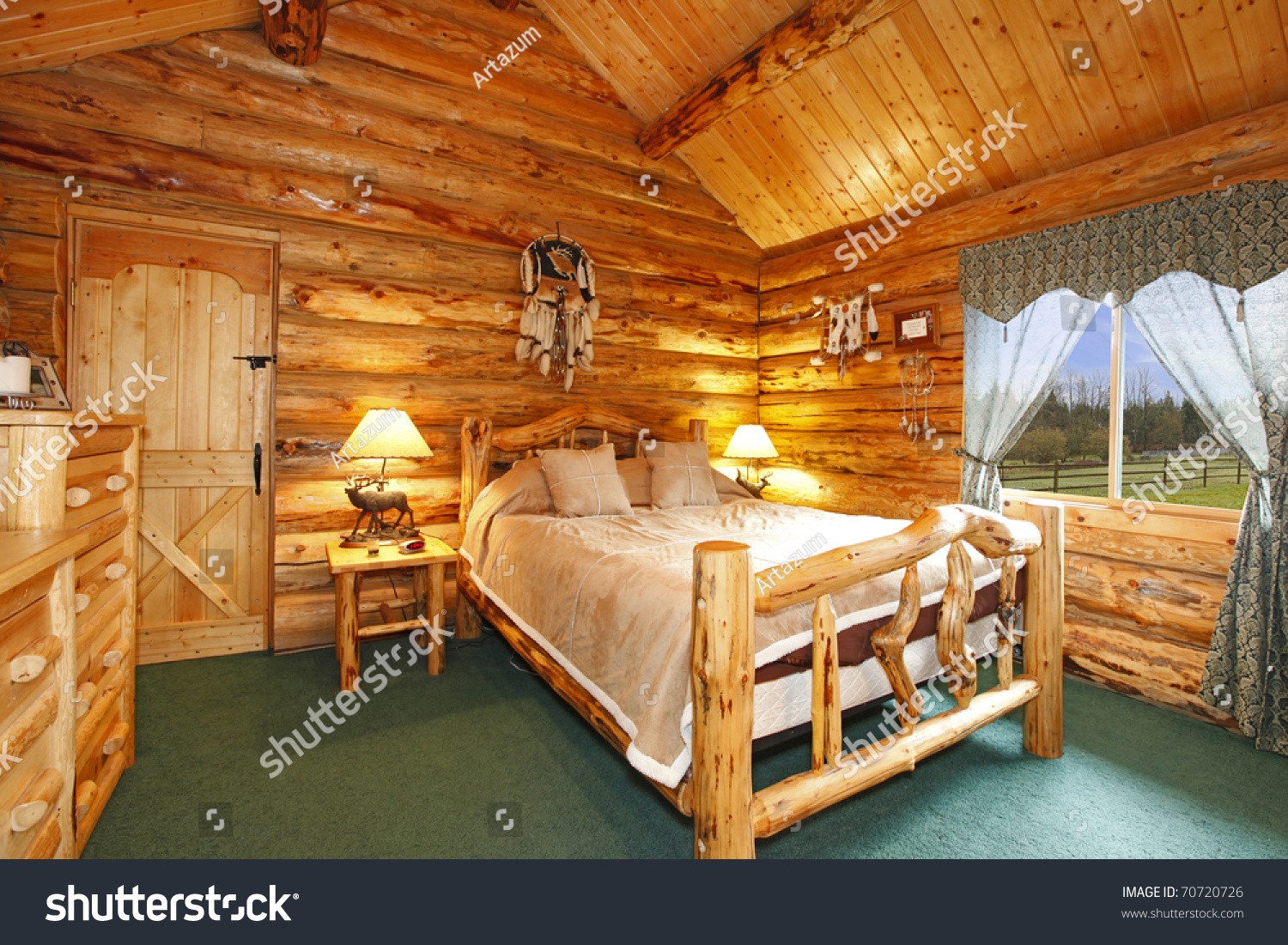 Log cabin bedroom rustic wood design stock photo 70720726 for Lodge plans with 8 bedrooms