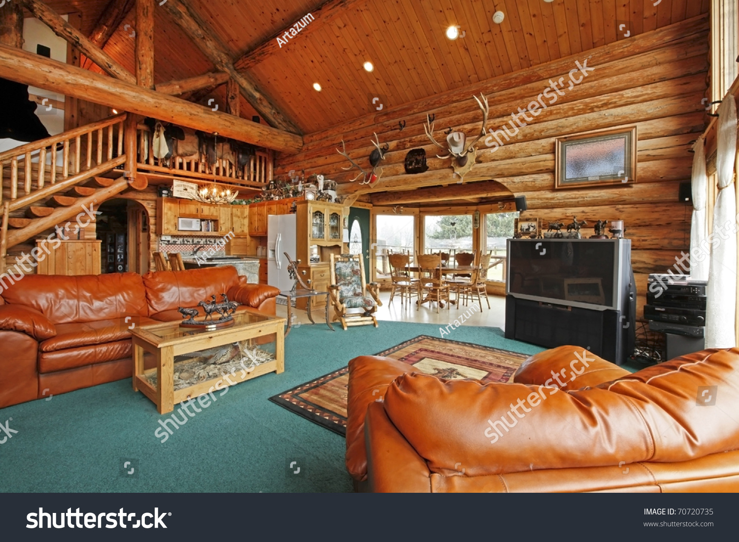 cowboy living room. Large living room of the log cabin with cowboy style Living Room Log Cabin Cowboy Stock Photo 70720735  Shutterstock