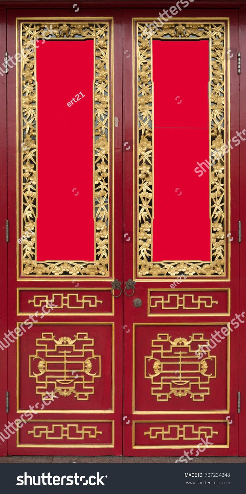 Red Door Chinese Style Stock Photo Edit Now 707234248 Shutterstock