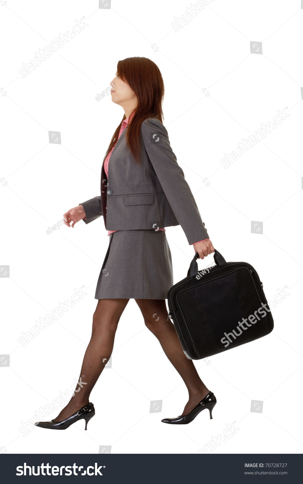 Business Woman Walking Full Length Pose Isolated On White