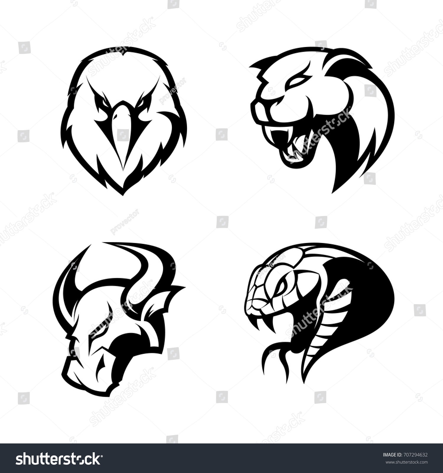 Furious eagle panther bull snake sport stock vector 707294632 furious eagle panther bull and snake sport vector logo concept set isolated on white biocorpaavc