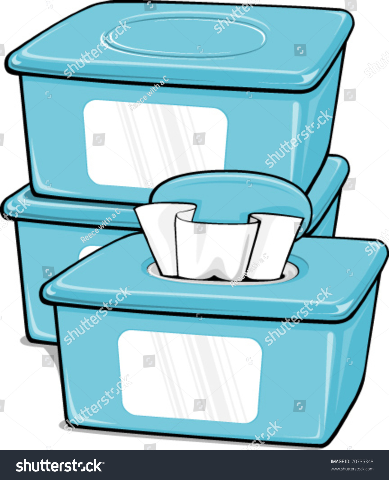 Three Generic Boxes Wipes Stock Vector 70735348