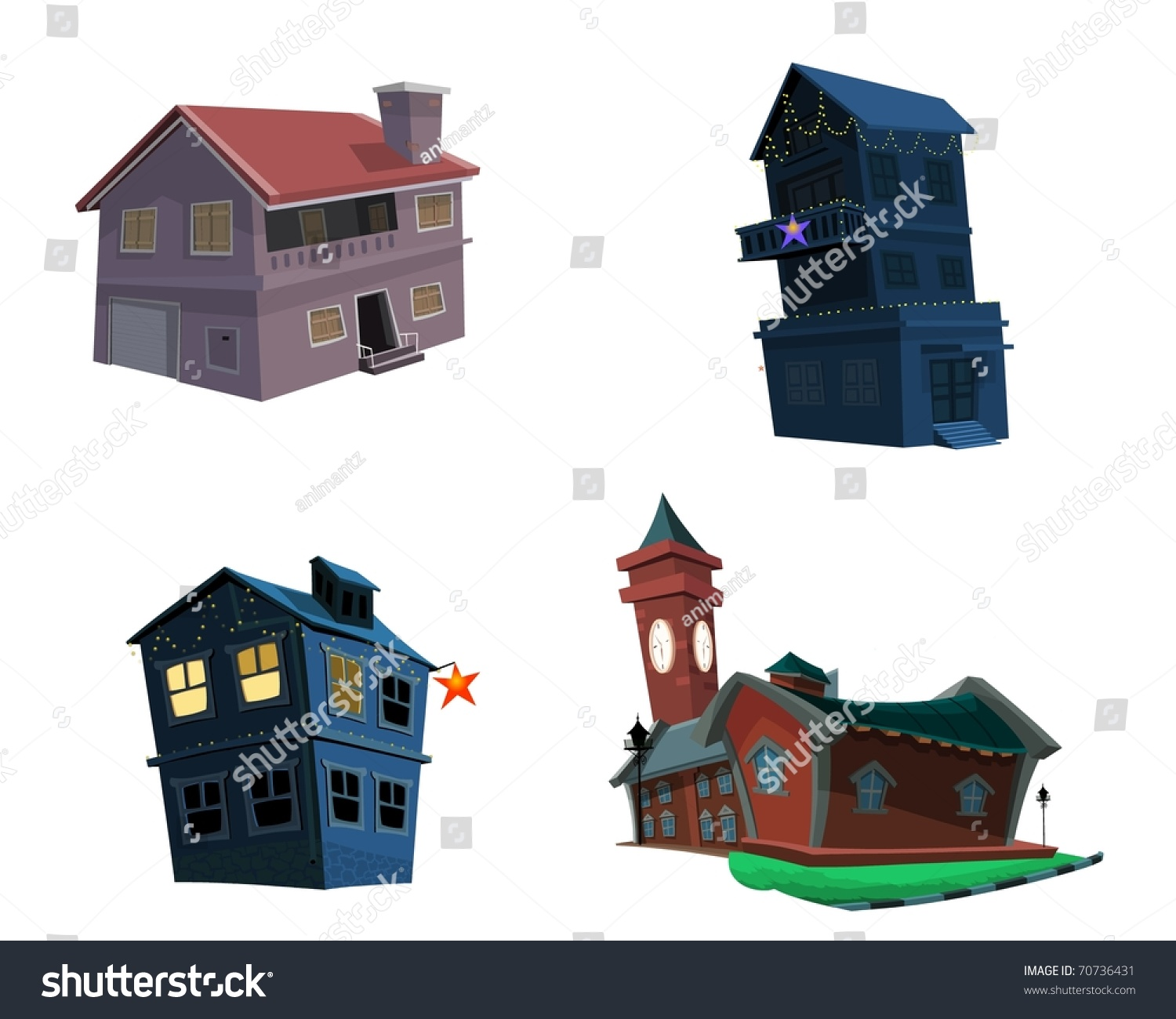 Different Types Houses Stock Illustration 70736431