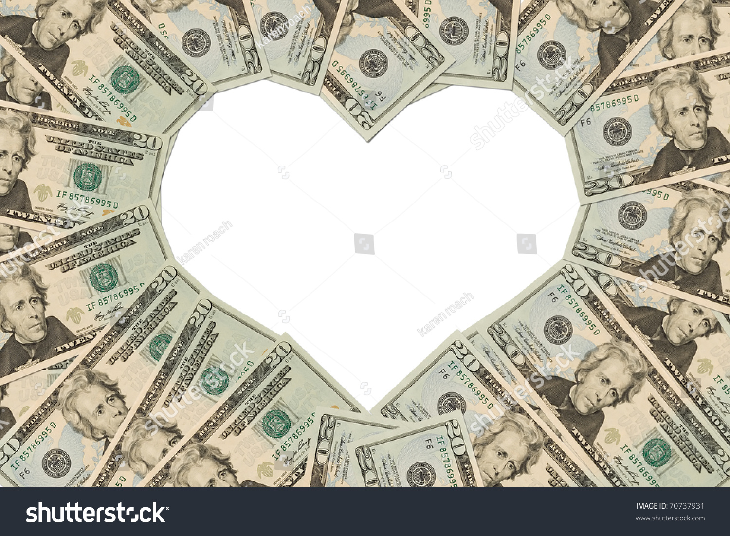 Twenty dollar bills making heart symbol stock photo 70737931 twenty dollar bills making a heart symbol on a white background money heart biocorpaavc Images