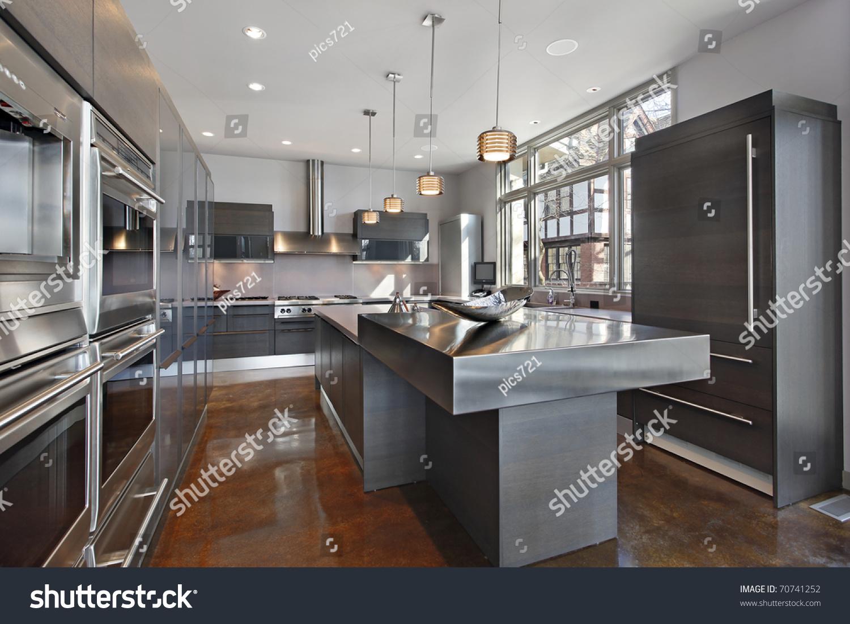 Design Stainless Steel Island ultra modern kitchen stainless steel island stock photo 70741252 with island