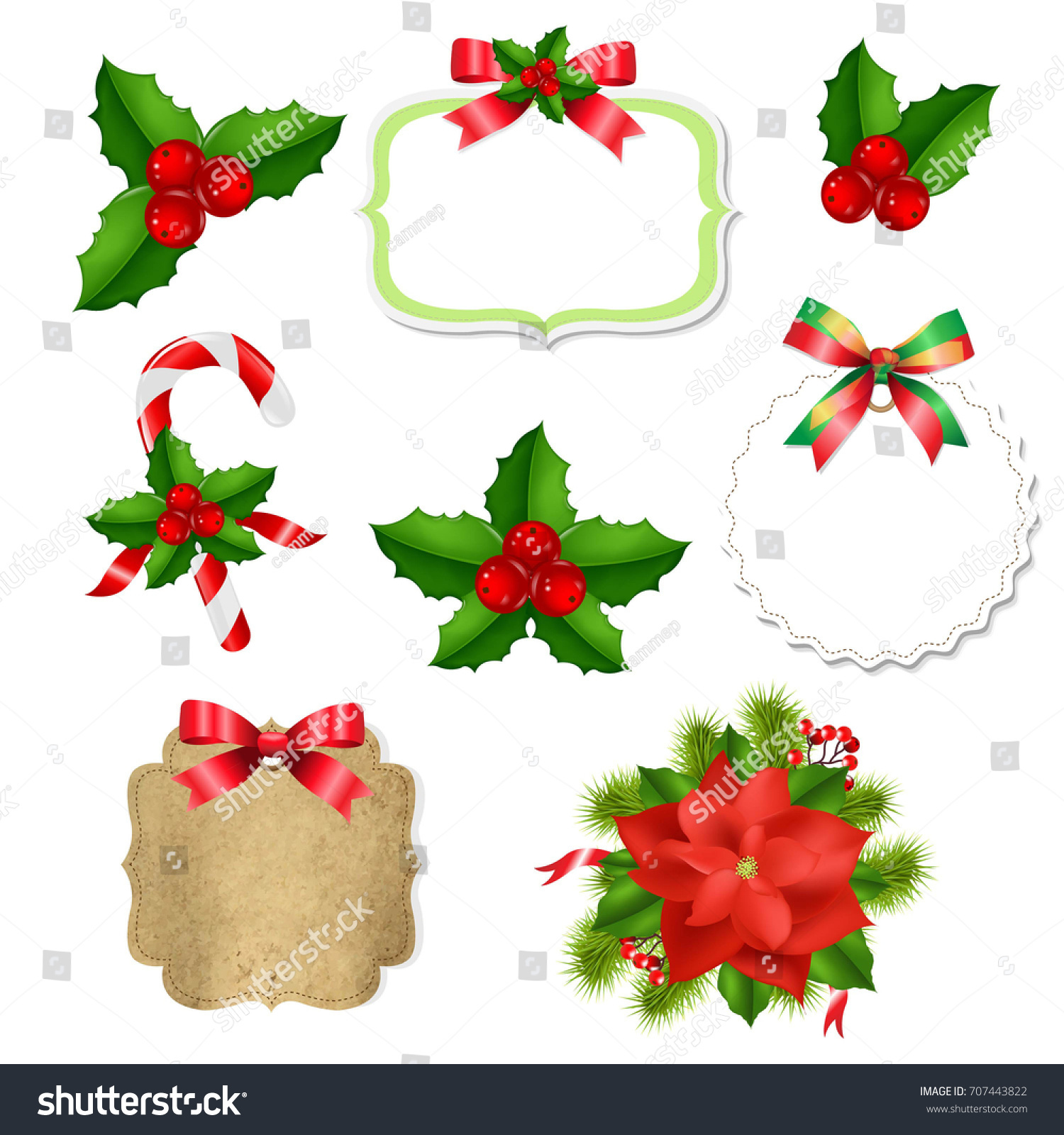 christmas labels set red bow holly stock vector royalty free