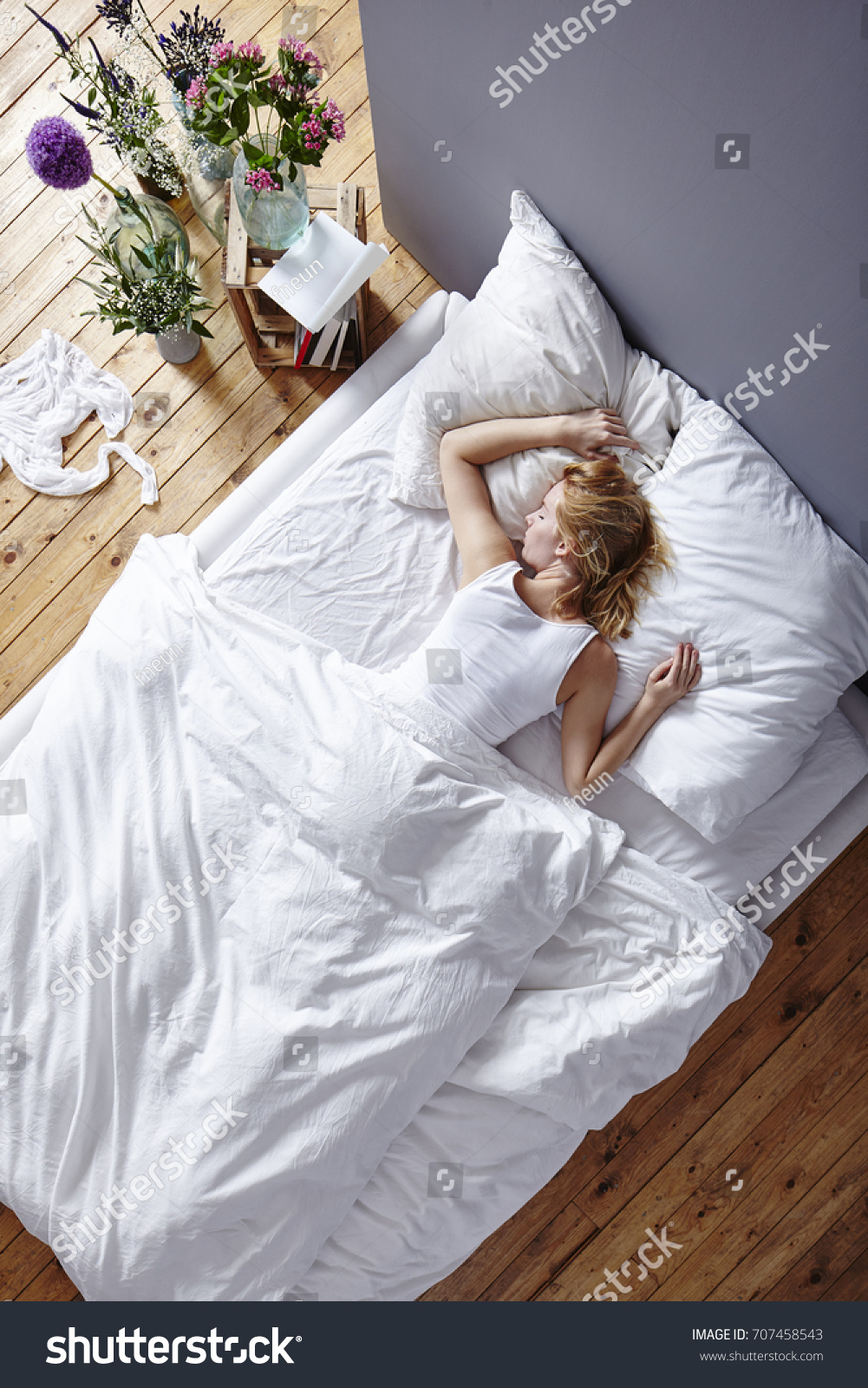 Young Woman Laying Bed View Above Stock Photo Edit Now 707458543