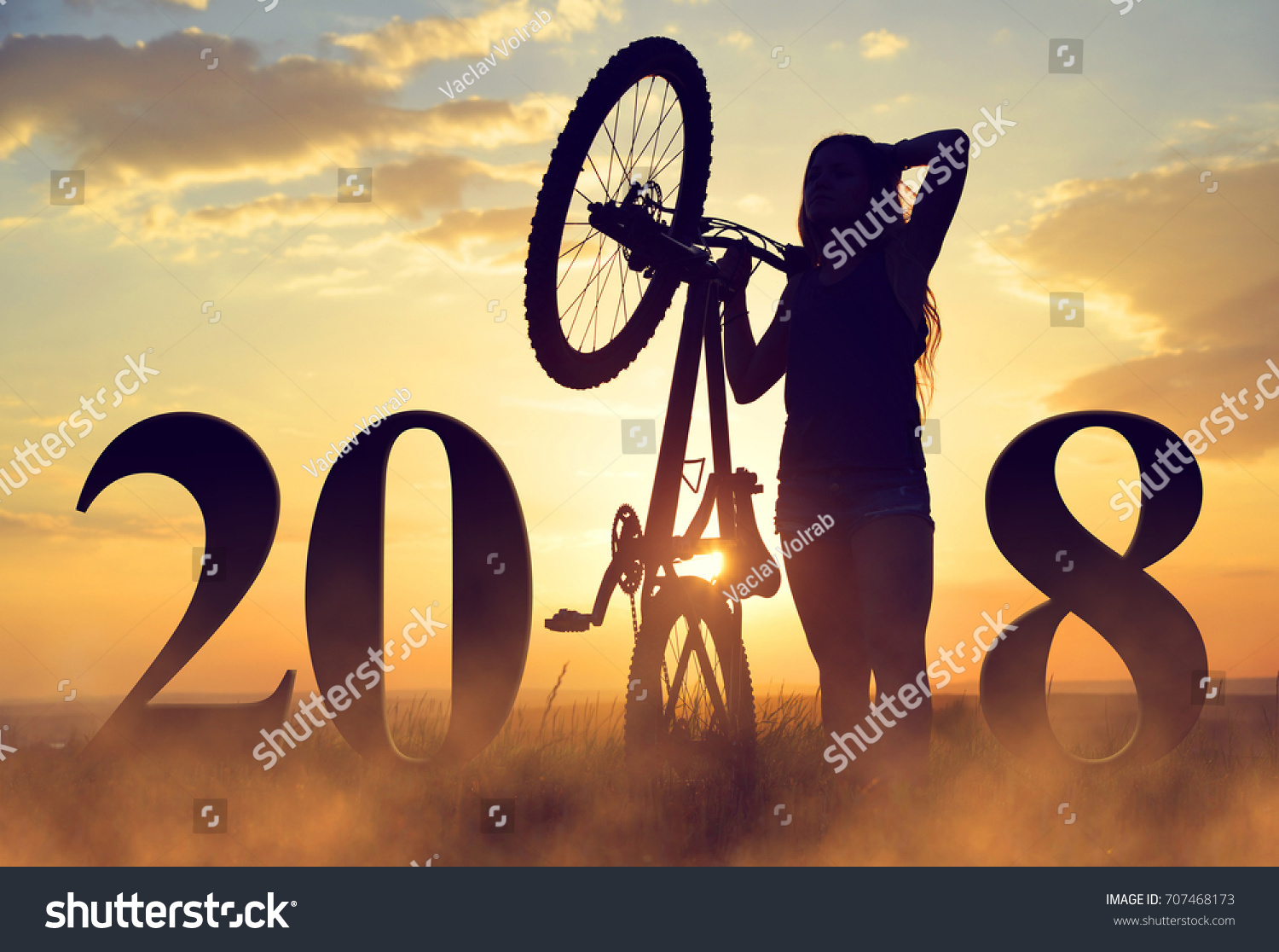 girl bicycle sunset forward new year stock photo edit now rh shutterstock com happy new year