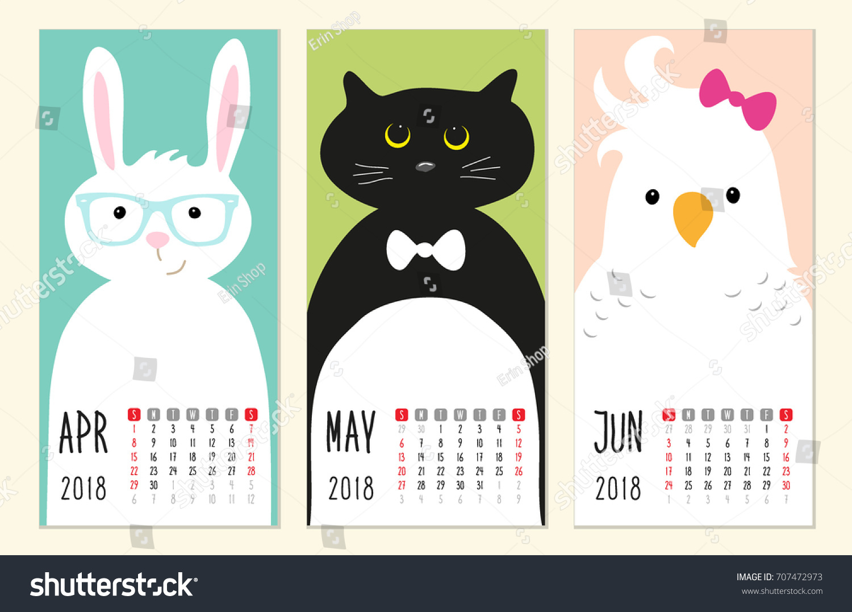 Cute 2018 Calendar Pages Funny Cartoon Stock Vector 707472973 ...