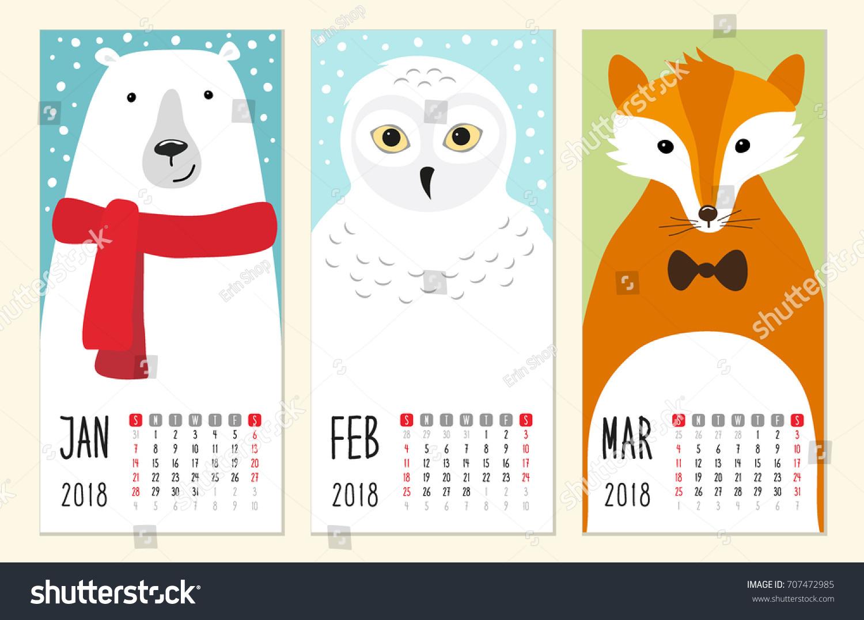 Cute 2018 Calendar Pages Funny Cartoon Stock Vector 707472985 ...