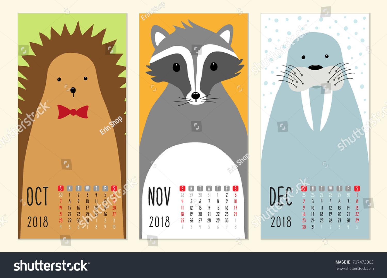 Cute 2018 Calendar Pages Funny Cartoon Stock Vector 707473003 ...