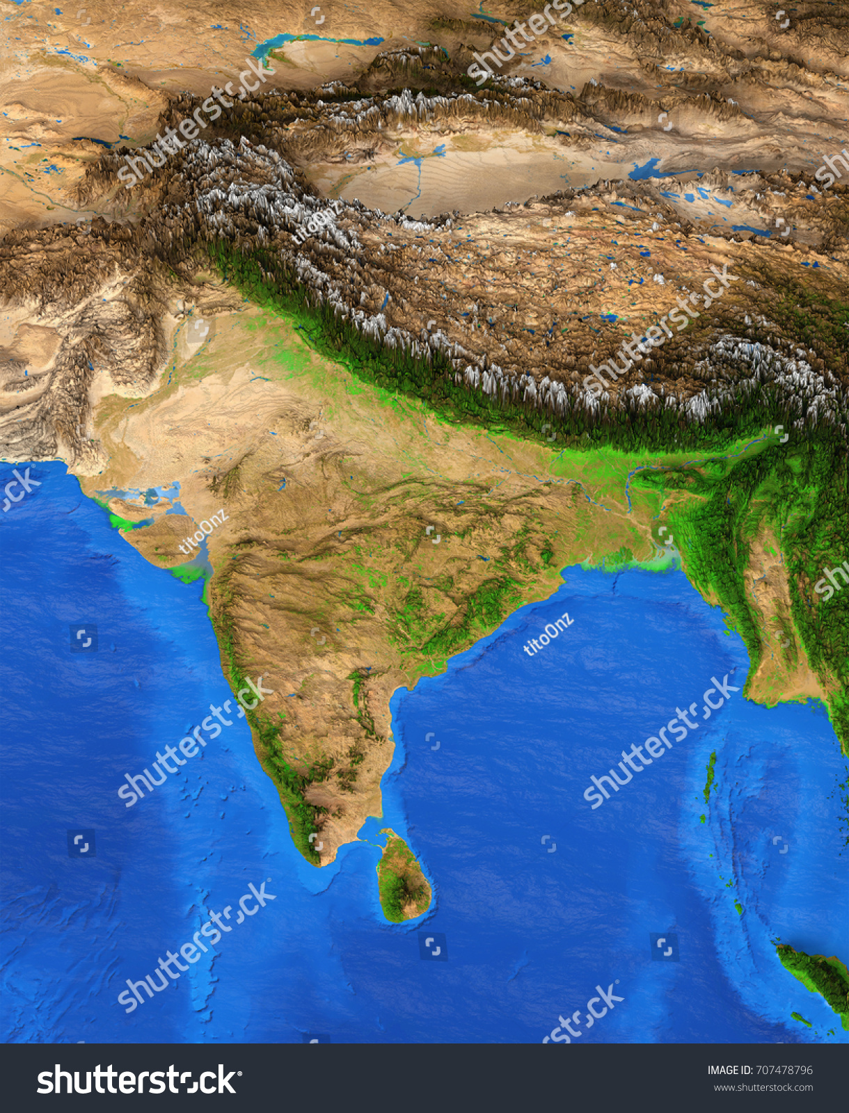 Map India Detailed Satellite View Earth Stock Illustration - World map by satellite of india