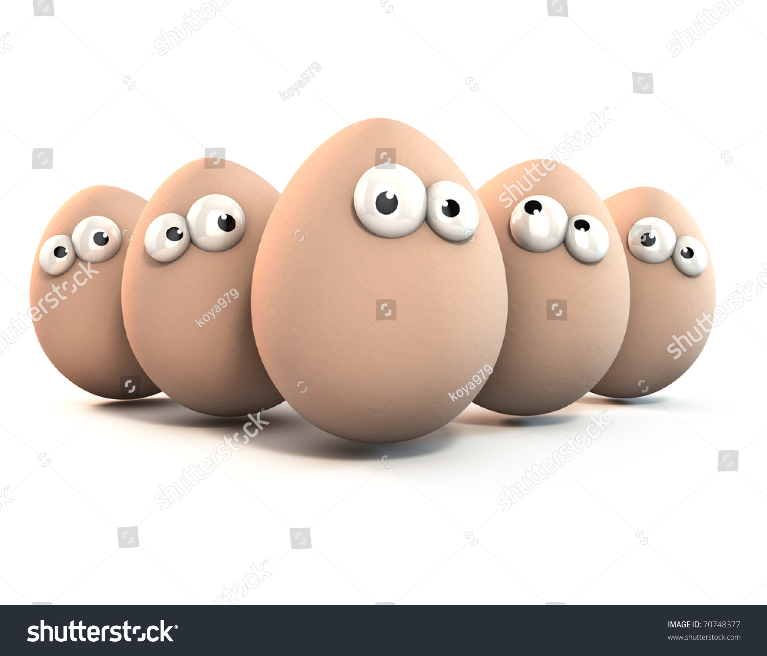 funny eggs cartoon 3d characters isolated stock illustration