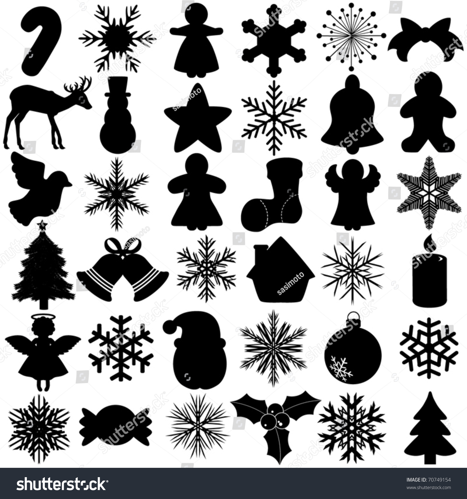 Silhouettes Vector Of Snowflake Christmas Festival Symbol ... Christmas Snowflake Silhouette