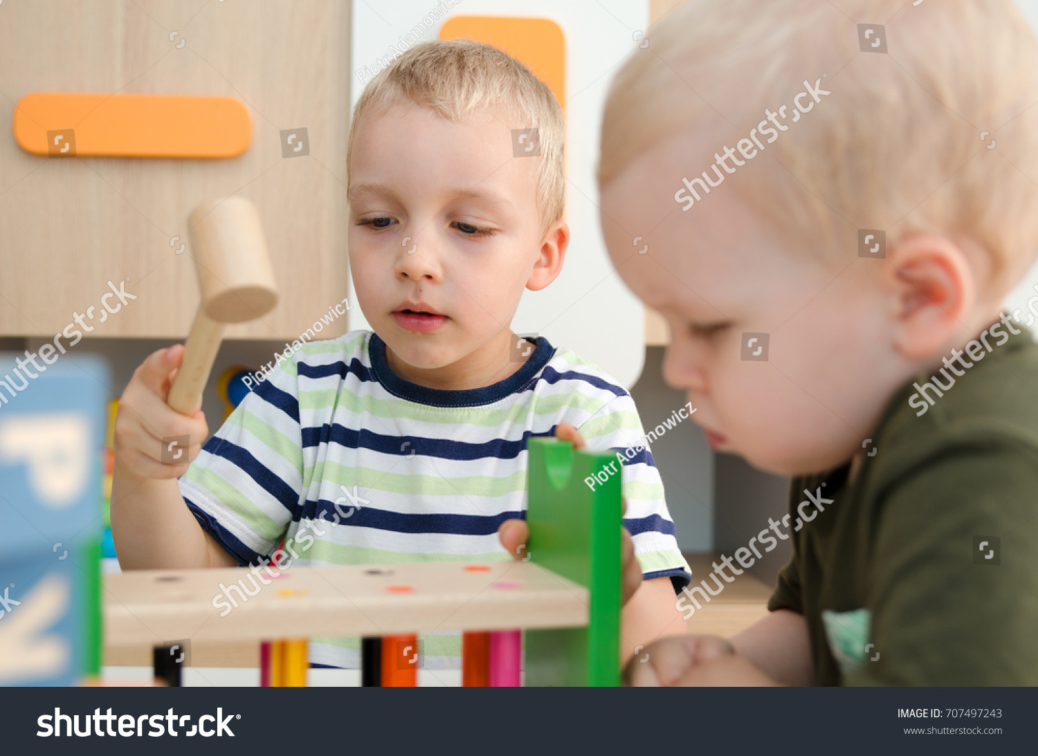 Kids Boys Playing Toy Blocks Home Stock Photo Edit Now 707497243