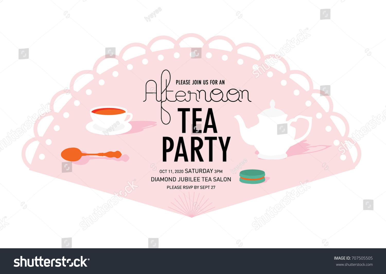 Fan Tea Party Invitation Card Template Stock Vector 707505505 ...