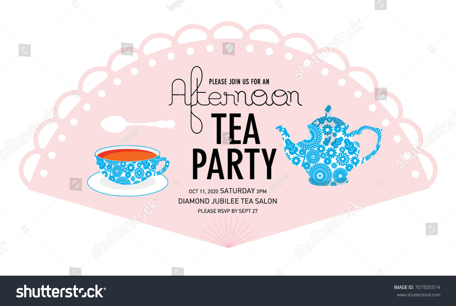 Fan Tea Party Invitation Card Template Vector Illustration