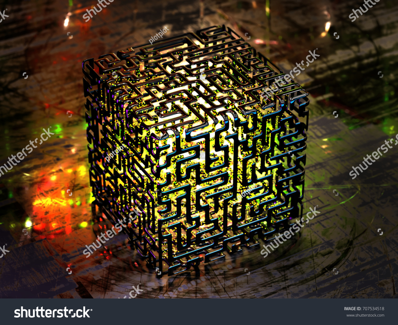 Concept Abstract Quantum Computer 3d Illustration Stock