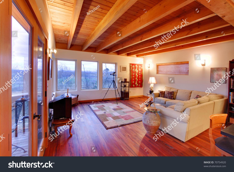 Modern Luxury Living Room With Nice Cherry Hardwood Floor