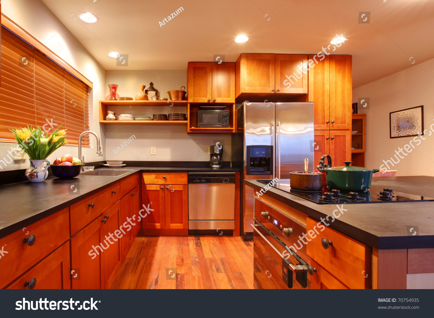 Really nice kitchen cherry wood hardwood stock photo for Really nice kitchen designs