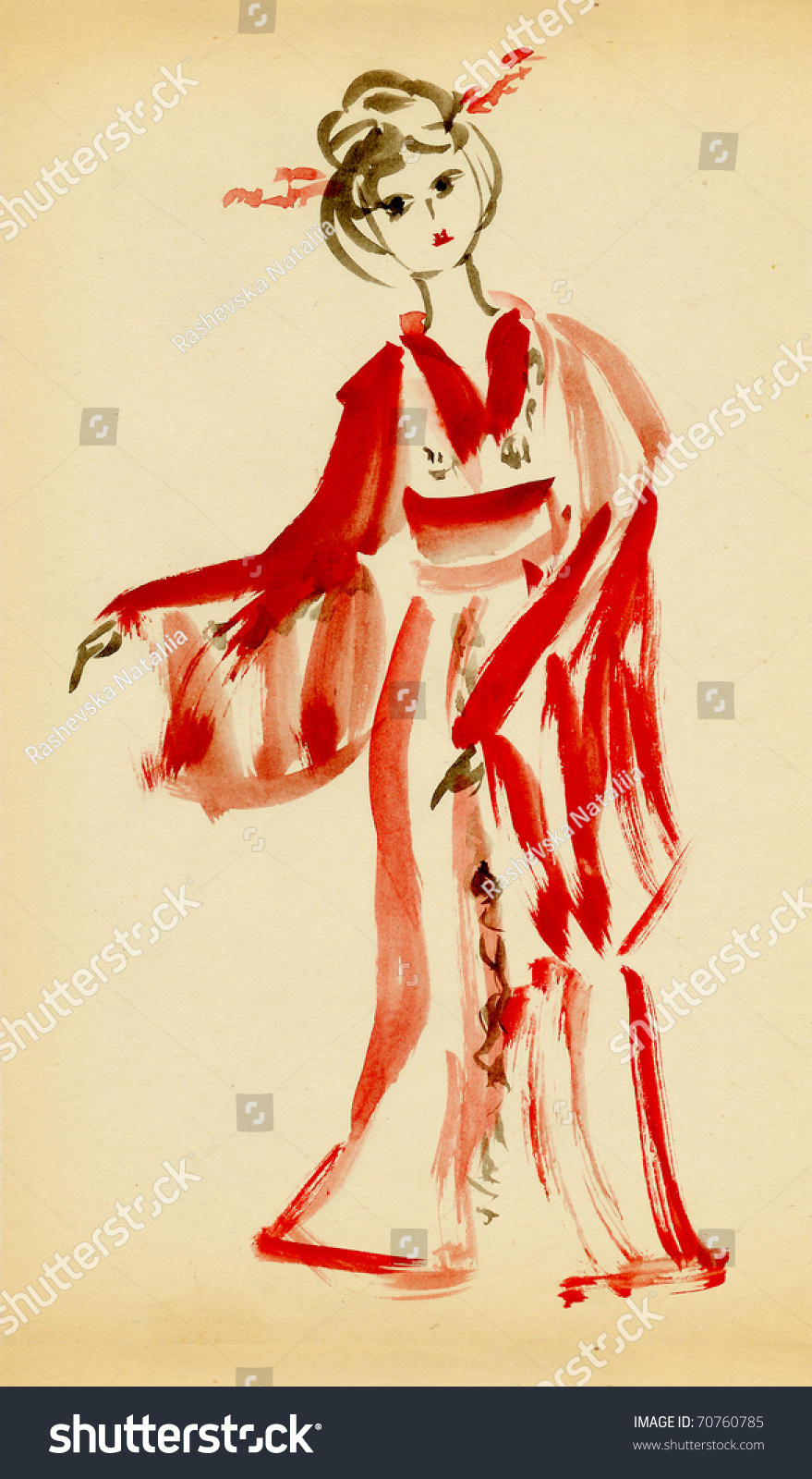 The lady in kimono dancing drawing in traditional japanese style
