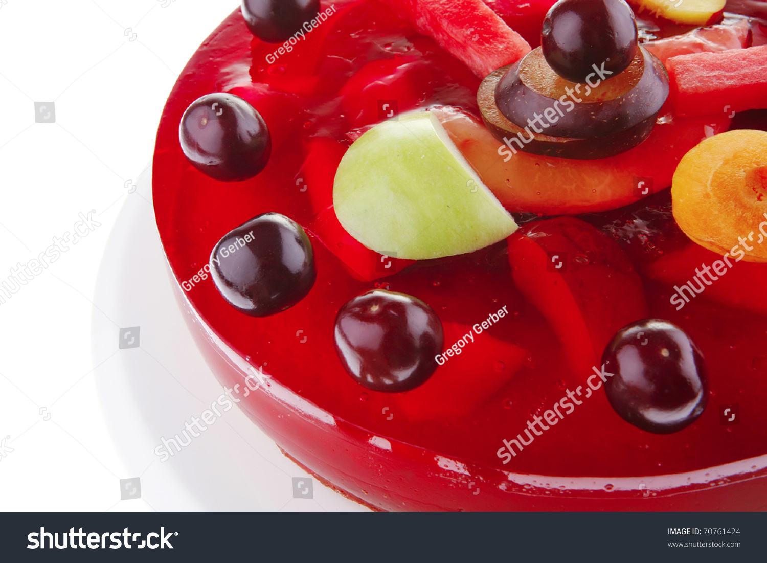 Red Jelly Cake Recipe: Image Of Cold Red Jelly Cake With Cherry And Watermelon