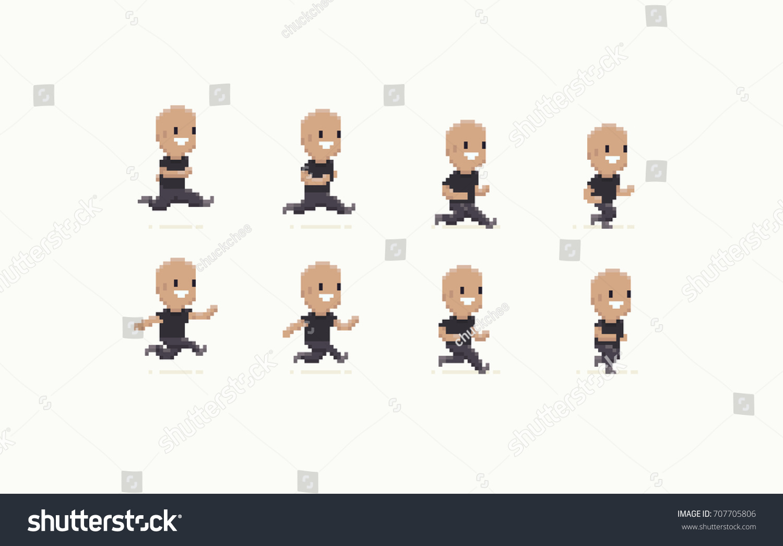 Pixel Art Male Character Run Animation Stock-Vektorgrafik ...