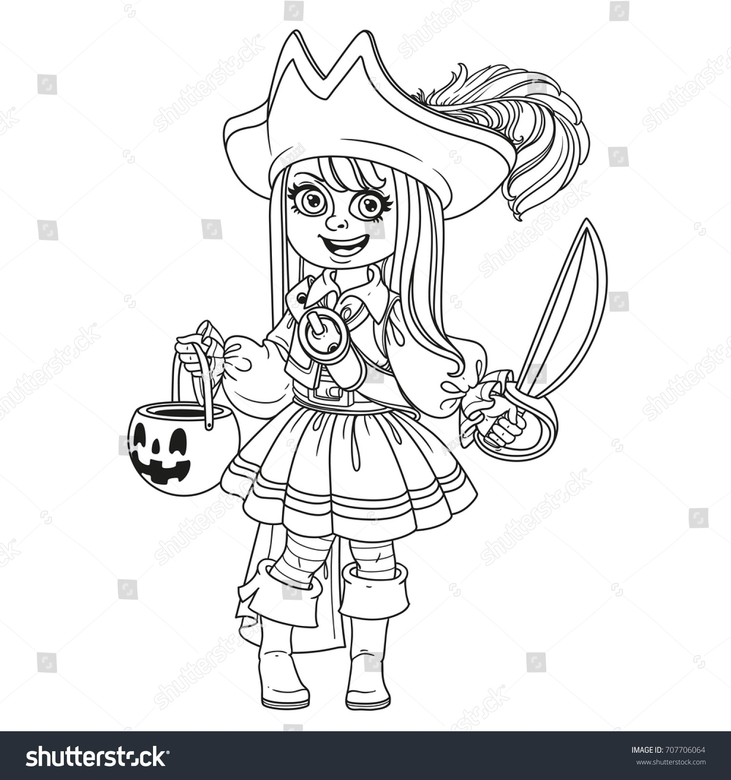 Cute boy in pirate costume with a pumpkin bag for sweets trick or ...
