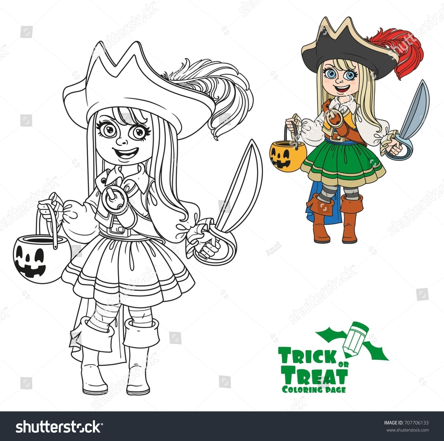 Cute girl in pirate costume with a pumpkin bag for sweets trick or ...