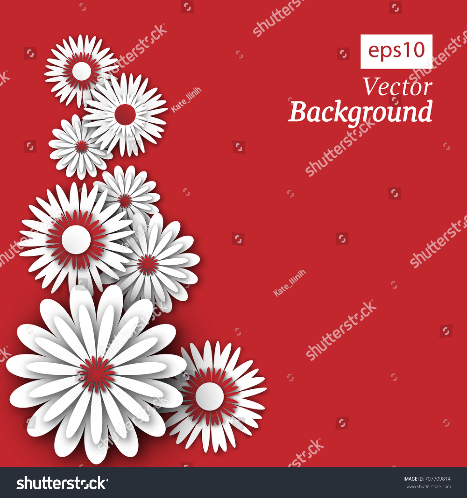 3 D Flowers Carved Paper On Red Stock Vector Royalty Free
